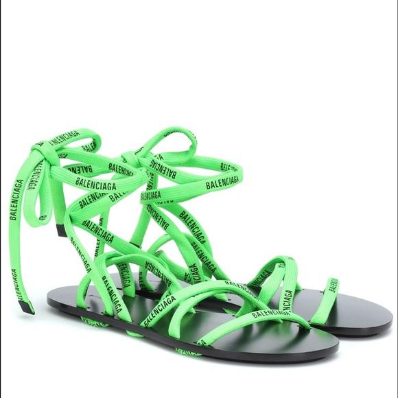 Balenciaga Flat Tieup Sandals W Printed